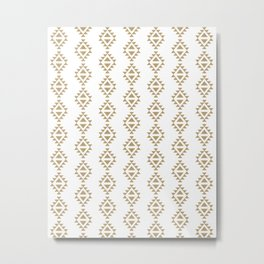 Aztec Triangles - Black and white modern pattern in tribal native style Metal Print