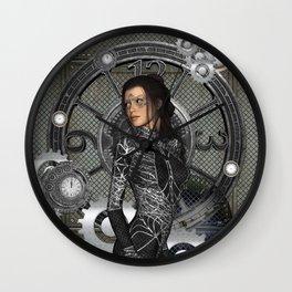 Steampunk, steampunk lady Wall Clock