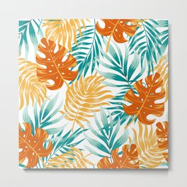 Botanical seamless tropical pattern with bright plants and leaves on a light background. Seamless exotic pattern with tropical plants. Tropic leaves in bright colors. Metal Print