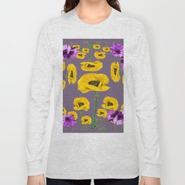 LILAC ANEMONES YELLOW POPPY FLOWERS ON GREY Long Sleeve T-shirt