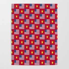 Mix of flag : usa and vietnam Poster