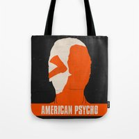 american psycho Tote Bags featuring American Psycho by Bill Pyle