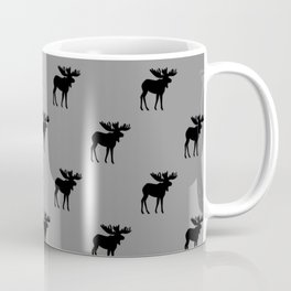 Bull Moose Silhouette - Black on Gray Coffee Mug