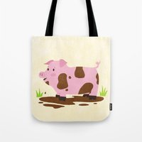 pig Tote Bags featuring Pig by Claire Lordon