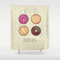 donuts Shower Curtains featuring Donuts by Monstruonauta