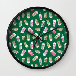 Coffee Crazy Toss in Green Wall Clock