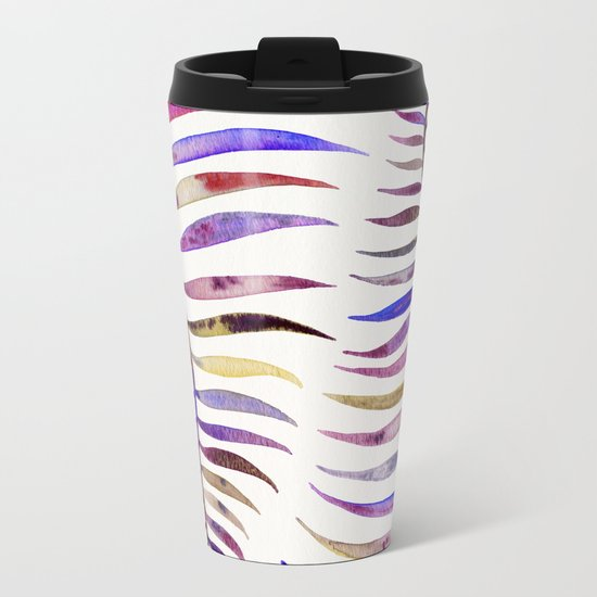 Magenta Palm Leaf Metal Travel Mug