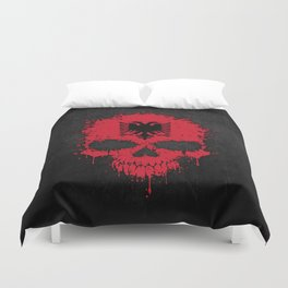 Flag of Albania on a Chaotic Splatter Skull Duvet Cover