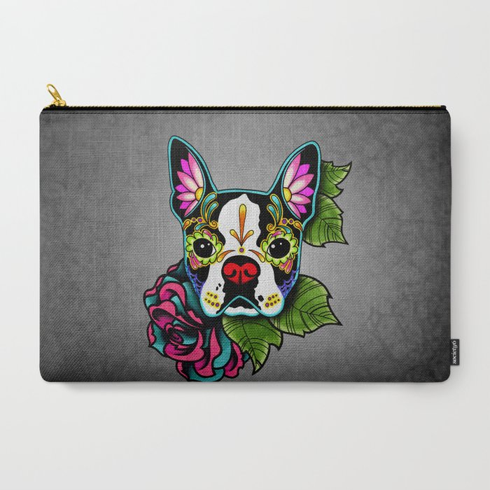 Boston_Terrier_in_Black__Day_of_the_Dead_Sugar_Skull_Dog_CarryAll_Pouch_by_Pretty_In_Ink__Large_125_x_85