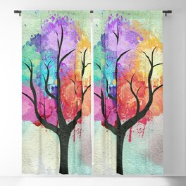 Awesome abstract pastel colors oil paint tree of Life Blackout Curtain