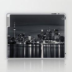Toronto Skyline At Night From Polson St No 2 Black and White Version Laptop & iPad Skin