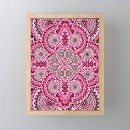 Deep Pink Magenta Retro Boho Psychedelica Floral Print Framed Mini Art Print