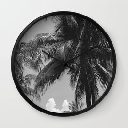 Palm Trees Black and White Photography Wall Clock