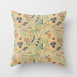 Yellow Scattered Flowers Throw Pillow