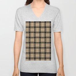 Large Tan Brown Weave Unisex V-Neck