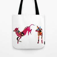 dogs Tote Bags featuring dogs by Alvaro Tapia Hidalgo