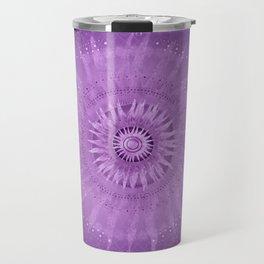 """Purple & Mallow Vault Mandala"" (Silver stars) Travel Mug"