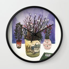Potted Flowers II Wall Clock