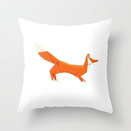 Origami Fox Throw Pillow