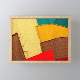Colorful Textile Patches. Red, Green, Yellow Colors. Natural Abstract Art Framed Mini Art Print