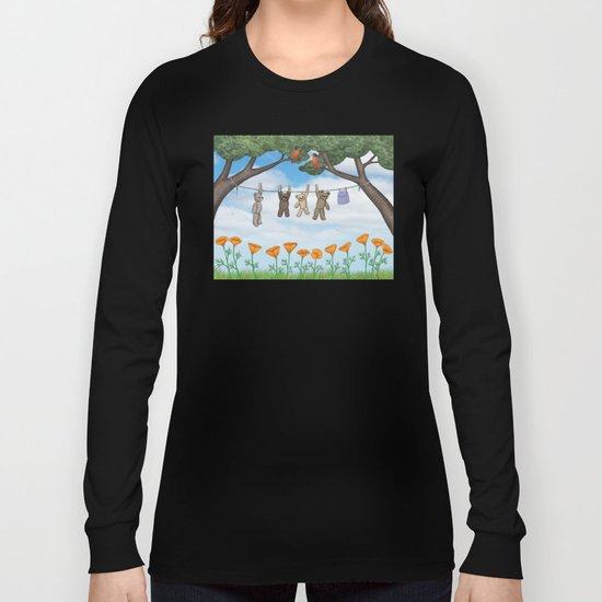 robins, poppies, & teddy bears on the line Long Sleeve T-shirt