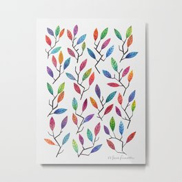 Leafy Twigs - Multicolored Metal Print