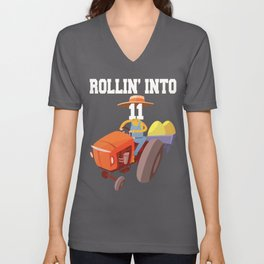 Rollin Into 11 Years Old Tractor 11th Birthday Boys Party design Unisex V-Neck