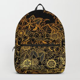 Floral Doodle Gold G523 Backpack