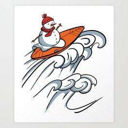 Happy Surfer Snowman design - Surfing Snowman Art Print