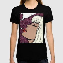 Platinum Blonde Smoking Comic Girl T-shirt