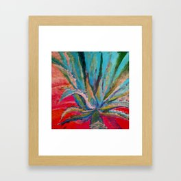 TROPICAL TURQUOISE BLUE AGAVE CACTI FUCHSIA  PATTERN Framed Art Print