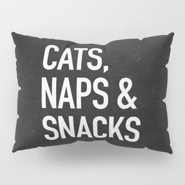 Cats, Naps and Snacks - black version Pillow Sham