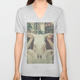 Bull Skull Tribal Woman Unisex V-Neck