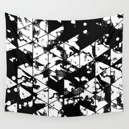 Splatter Triangles - Black and white, abstract, paint splat, triangular pattern Wall Tapestry