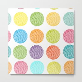 rainbow color Polka dot background. scribble dot on white Metal Print