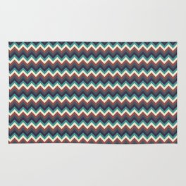 Geometrical colorful teal burgundy navy blue chevron pattern Rug