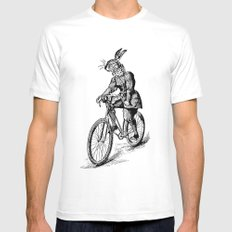 The Bicycle Bunny Mens Fitted Tee White LARGE