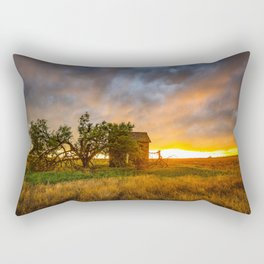 Windswept - Tree Sway in Wind Alongside Old Barn During Fiery Sunset in Oklahoma Rectangular Pillow