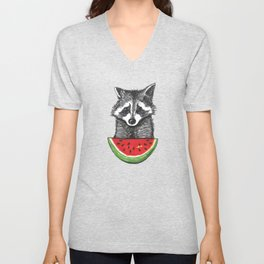 Racoon and watermelon Unisex V-Neck