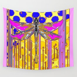 Polka Dragonfly Golden Rain Abstract Wall Tapestry