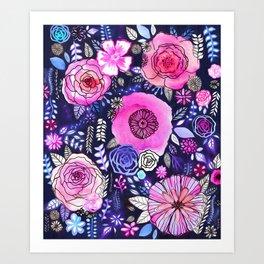 Ultraviolet Floral Mix Art Print