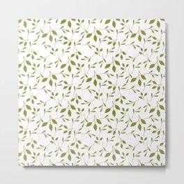 White & Green Leaf Pattern Metal Print
