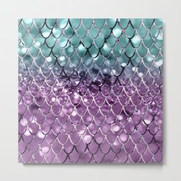 Mermaid Scales on Aqua Purple MERMAID Girls Glitter #2 #shiny #decor #art #society6 Metal Print