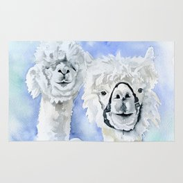 Alpacas Watercolor Rug