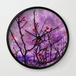Dark Branches With Red Buds Watercolor Wall Clock