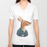 kangaroo V-neck T-shirts featuring Kangaroo by Animal Crew