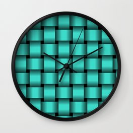 Large Turquoise Weave Wall Clock