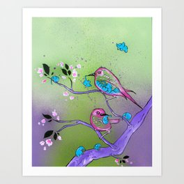 The Early Birds and the Little Elephants Art Print