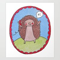 Hedgehog's Phone Art Print