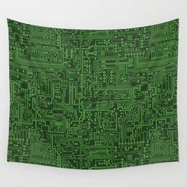 Circuit Board // Light on Dark Green Wall Tapestry